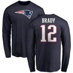 Youth Tom Brady New England Patriots Name & Number Logo Long Sleeve T-Shirt - Navy