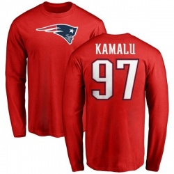 Youth Ufomba Kamalu New England Patriots Name & Number Logo Long Sleeve T-Shirt - Red