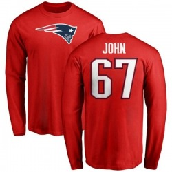 Youth Ulrick John New England Patriots Name & Number Logo Long Sleeve T-Shirt - Red