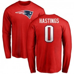 Youth Will Hastings New England Patriots Name & Number Logo Long Sleeve T-Shirt - Red